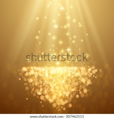 Lights on yellow background bokeh effect. Raster version. - stock photo