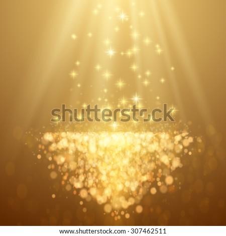 Lights on yellow background bokeh effect. Raster version. - stock photo