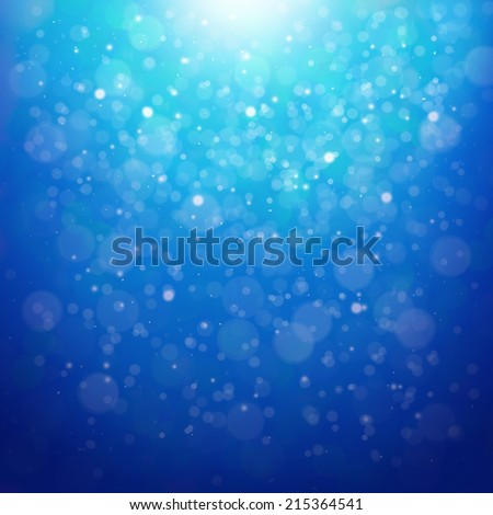 Lights shine On Blue and bokeh fairy  Illustration, Graphic Design Useful For Your Design. Bright Blue color Abstract Christmas Background With White Snowflakes  - stock photo