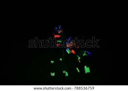 Lights show. Laser show. Nightclub dj parties use music, dancing sound with bright light. club night light dj party club. With car for smoke and lights. Creative Light show on open nightclub scene