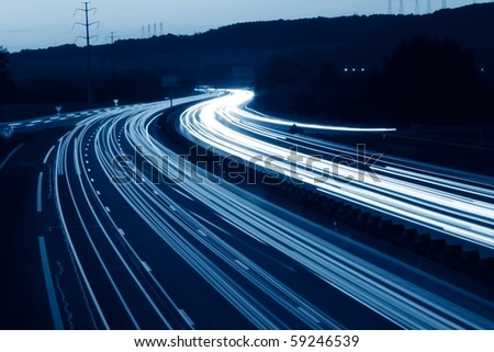 lights trails of cars in france - stock photo