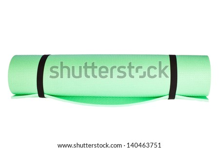 Lightweight foam Yoga Mat roll isolated on white - stock photo