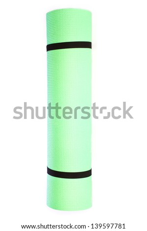 Lightweight foam Yoga Mat roll  on white background - stock photo