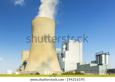 Lignite-fired power plant with cooling tower energy - stock photo