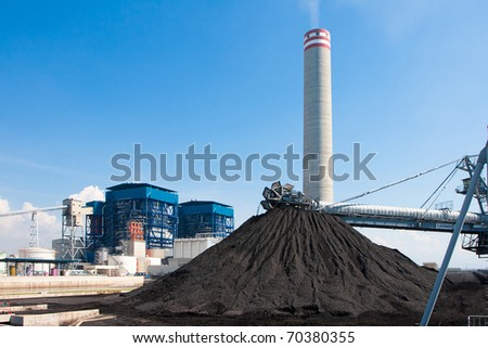 Lignite mass ready to be energy for electricity power plant - stock photo