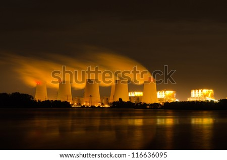 Lignite power plant at night - stock photo