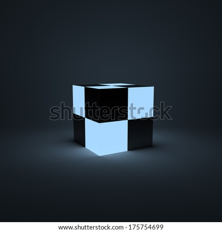 Ligth box shape on the grey background. Business concept - stock photo