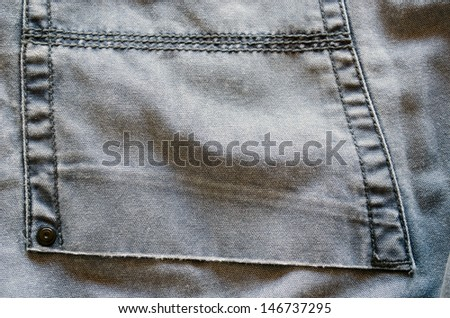 ligth bright jeans trousers pocket piece material texture closeup background.  - stock photo