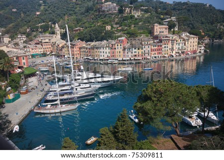 Liguria, Italy - The beautiful Portofino village in a sunny summer day