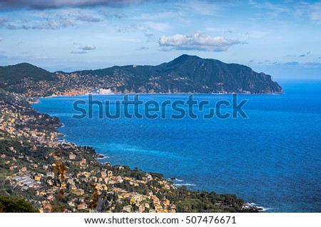 Ligurian coast view from Est Genoa until Portofino mount. This is one of the most pitoresque coast in Italy, Genoa, province, Europe