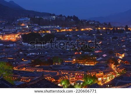 Lijiang old town at night time,Yunnan,China