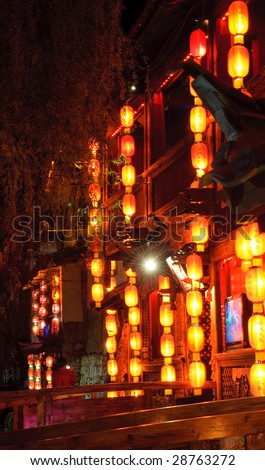 lijiang old town at nightr
