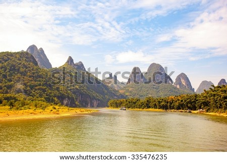 Lijiang river scenery. Guilin lijiang scenic area is the world's largest and most beautiful scenery of karst landscape recreational area. It is located in the Guilin, Guangxi, China.