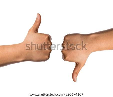 like and dislike handsign - stock photo