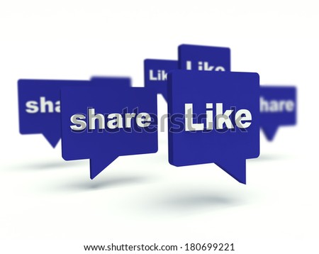 Like and Share bubble speech. Social network concept. 3d render illustration.