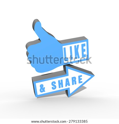 Like and Share Thumb Up blue on white - stock photo