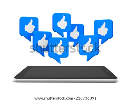 like and tablet 3d  - stock photo