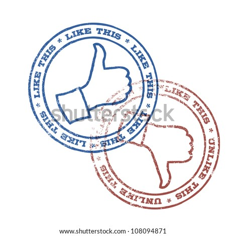 Like and unlike stamps illustration. Raster version - stock photo