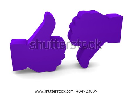Like and Unlike symbols isolated on white background. 3d render - stock photo