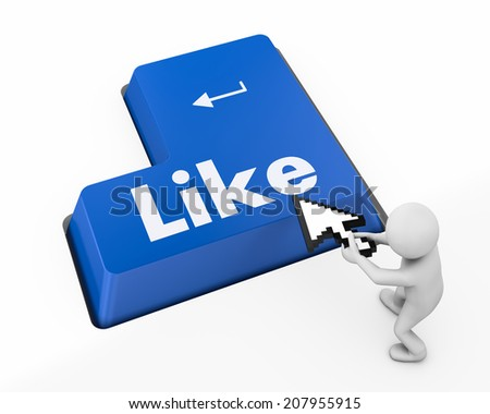 Like Button key like social media - stock photo