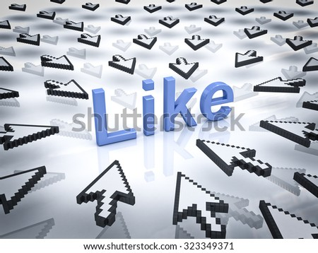 Like concept many arrow cursors mouse clicking like button or link on white background with reflection. - stock photo