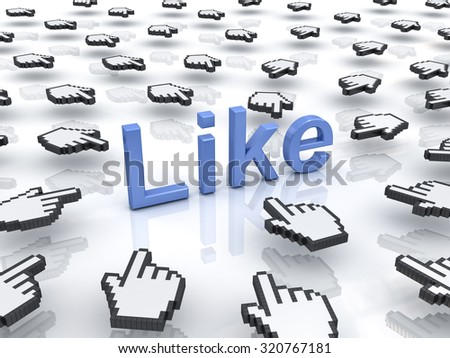 Like concept many hand cursors mouse clicking like button or link on white background with reflection - stock photo
