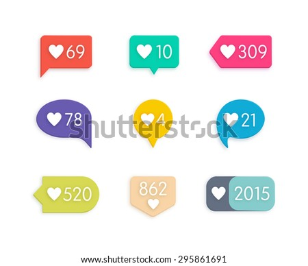 Like Counter Notification Icons Set on ribbons and labels - stock photo