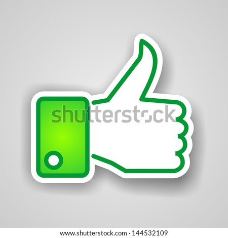 LIKE green hand with thumb pointing upwards with drop shadow on gray square background