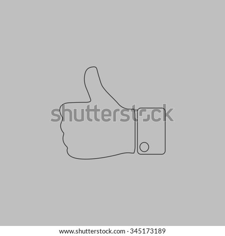 LIKE - hand. Flat outline icon on grey background