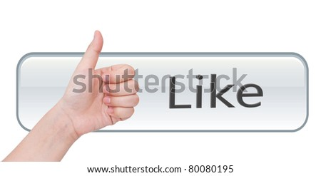 like hand on like button - stock photo