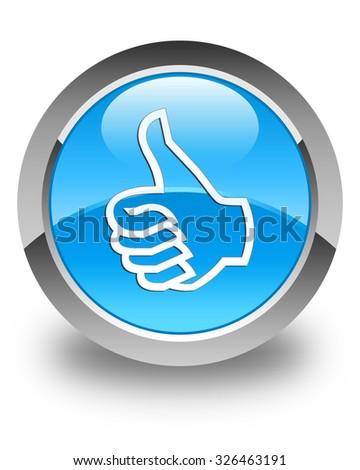Like icon glossy cyan blue round button - stock photo
