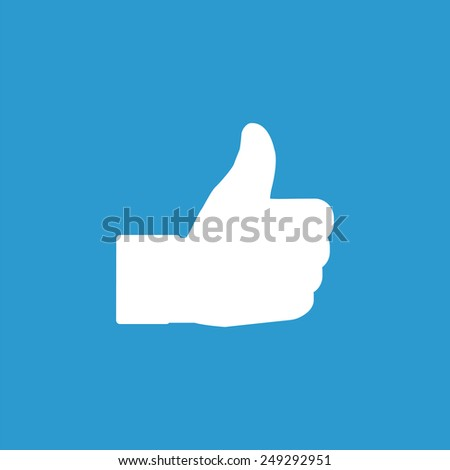 Like icon, isolated, white on the blue background. Exclusive Symbols  - stock photo