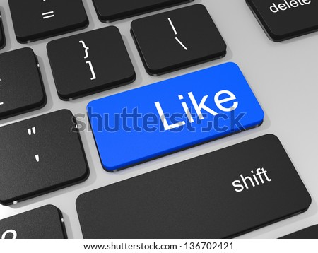 Like key on keyboard of laptop computer. Social concept. 3D illustration.