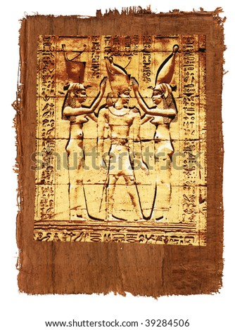 like old papyrus with elements of egyptian ancient history - stock photo