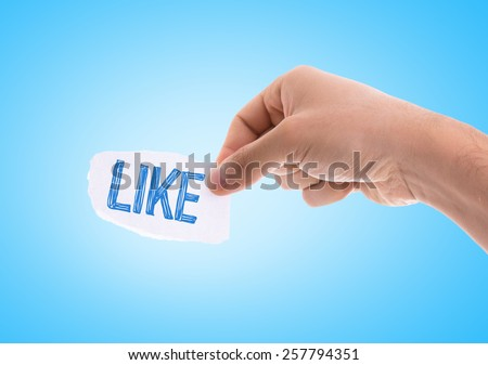 Like piece of paper with blue background - stock photo