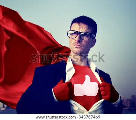 Like Share Facebook Hero Appreciate Superman Red Cape Presenter Concept - stock photo