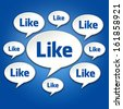 Like social chat bubble conversation on blue gradient background - stock photo