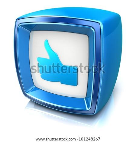 Like Symbol On Blue Badge Icon Stock Illustration 101248267