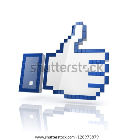like thumbs up hand 3d icon - stock photo