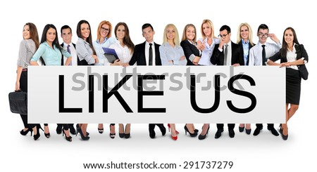 Like us word writing on white banner - stock photo