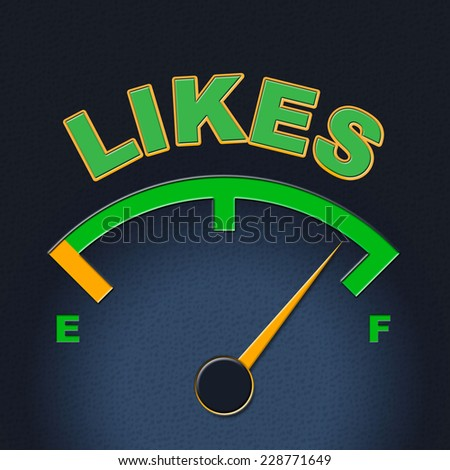 Likes Gauge Indicating Social Media And Dial - stock photo