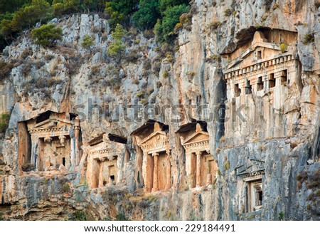 Likijsky tombs on the river Daljan, Turkey - stock photo