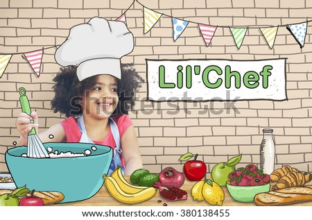 Lil' Chef Cooking Kid Child Culinary Food Concept - stock photo