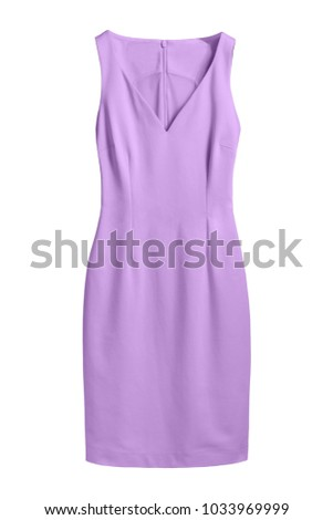 Lila pastel violet elegant dress with v decollate isolated white