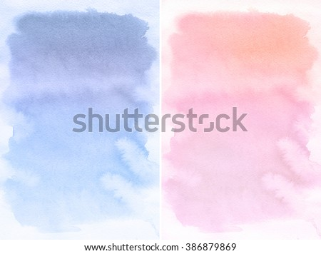 Lilac and Rose spot, watercolor abstract hand painted background. Rose Quartz and Serenity Tint Watercolour Texture. Pastel Colored Palette. - stock photo