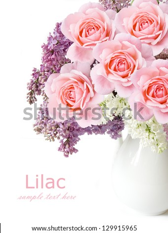 Lilac and roses flowers bunch isolated on white background - stock photo