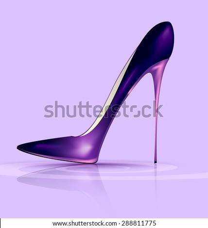 lilac background and the purple ladys shoe - stock photo