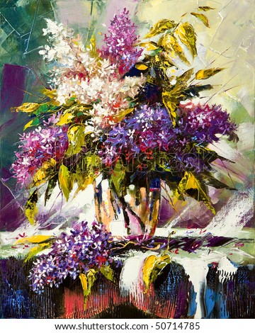 Lilac bouquet in a vase - stock photo