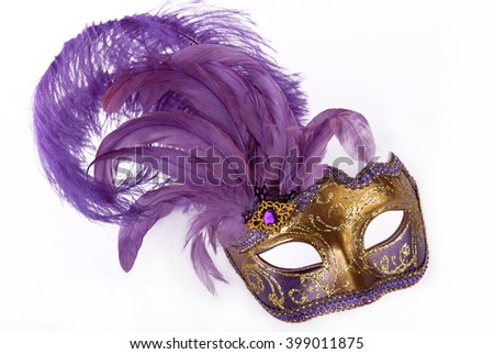Lilac carnival mask - stock photo