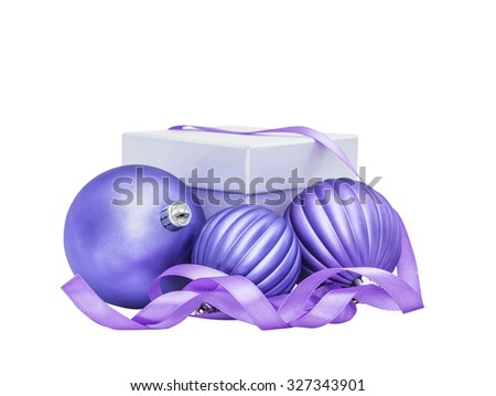 Lilac Christmas and New Year baubles balls, gift and ribbon decoration isolated on white background - stock photo
